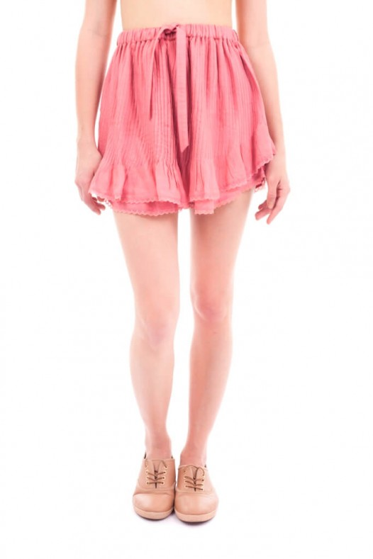 Solid Rayon Plared Short
