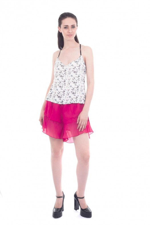 Solid Chiffon A-Line Short With Lining