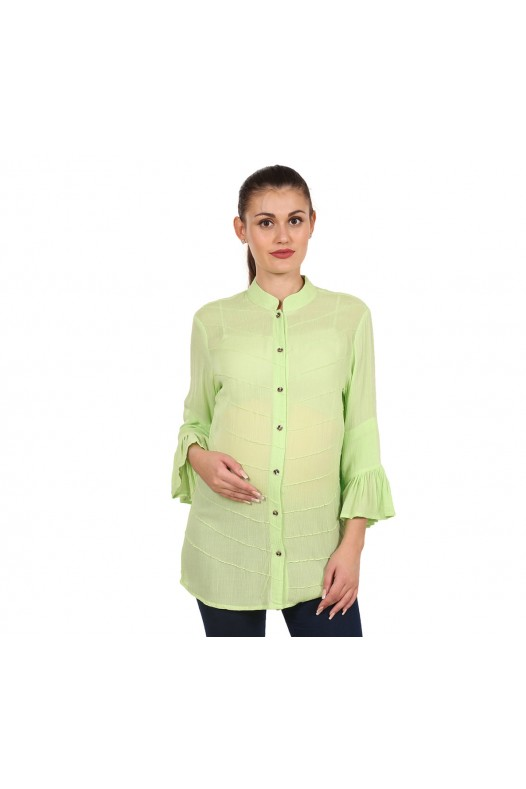9teenAGAIN Women's Rayon Crepe Maternity Top (Green)