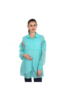 9teenAGAIN Women's Chiffon Maternity Top (Light Blue)