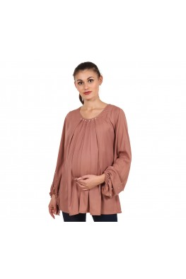 9teenAGAIN Women's Crepe Maternity Top (Brown)