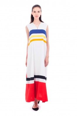 Solid Rayon Panel Detailed Long Dress