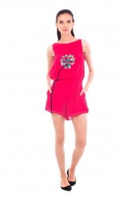 Solid Georgette Gathered Jumpsuit