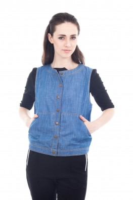 Denim Button Front Vest