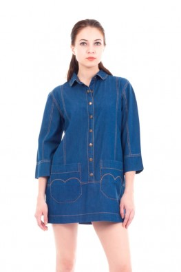 Solid Denim Button Front Tunic