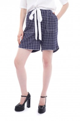 Checkered Knitted Straight Fit Short