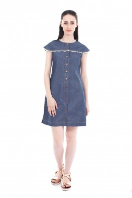 Solid Denim Sleeveless Dress