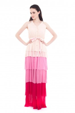 Solid Chiffon Sleeveless Party Dress