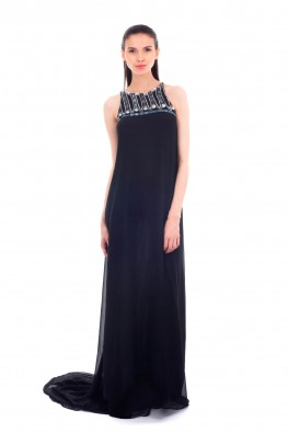 Georgette Sleeveless Dress With Sequins & Beaded Yoke