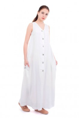 Solid Sleeveless Long Dress With Lining