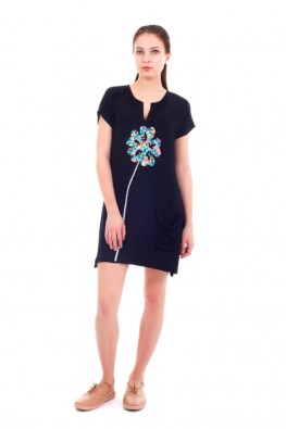 Solid Short Sleeve Dress With Beads