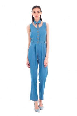 Collar Neck Denim Jumpsuit