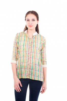 Colorful Printed Checks Top