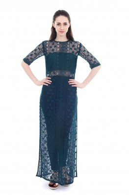 Lace Fabric Ankle Length Dress