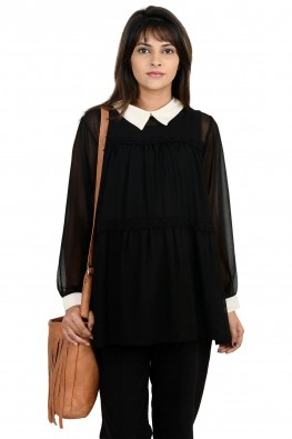 Tiered lace-edging going-out/officewear  maternity blouse