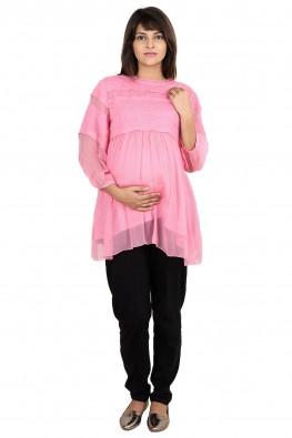Chiffon smocked panle going-out maternity blouse