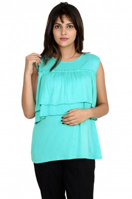 Double-layered turquoise casual nursing top