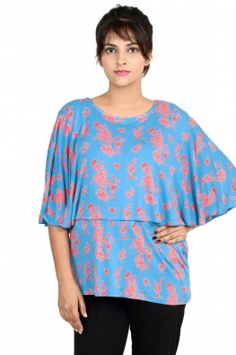 Printed cape casual nursing top