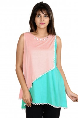 Asymmetrical color-block casual nursing top