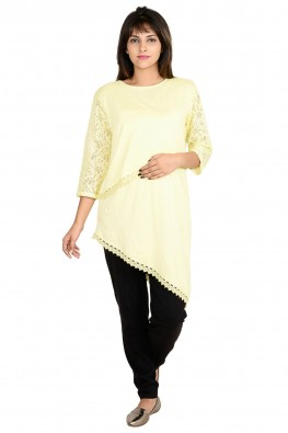 Asymmetrical,lace sleeve casual nursing top