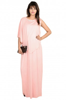 Asymmetrical cape going-out nursing maxi dress