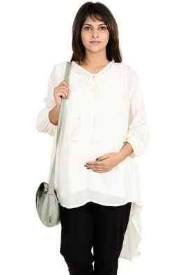 High-low casual maternity tunic