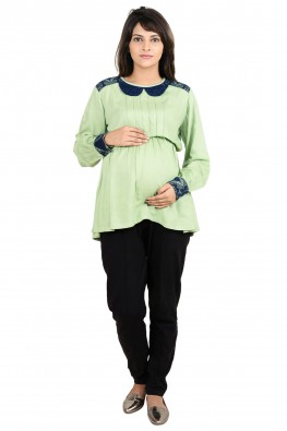 Peterpan collar going-out/officewear maternity shirt blouse