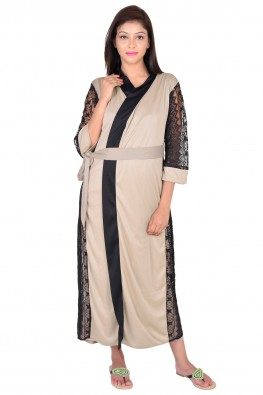 Double layered night gown with wrap around outerw