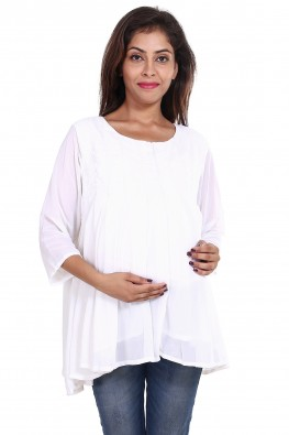 All-over pleated going-out/office wear maternity top