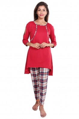Check-print nursing pj set