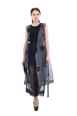 Sheer Graphic Print Sleevesless Long Jacket