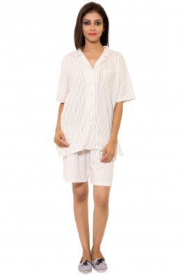 Printed stripes Night Suit with Knee Length Shorts