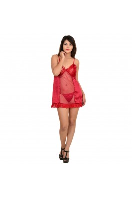9teenAGAIN Women's Satin & Net Babydoll