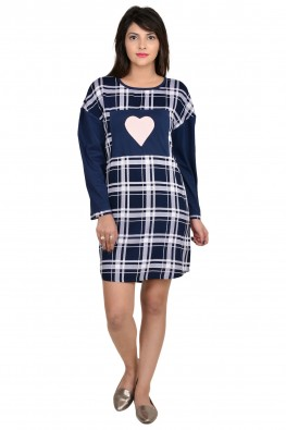 9teenAGAIN Check print nightdress with heart patch
