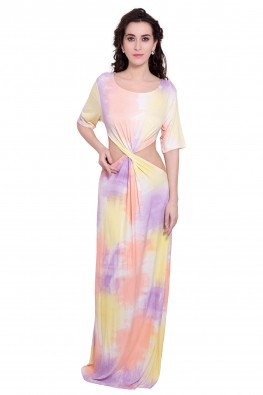 Cut- Out Maxi Tie & Dyed Dress