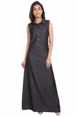 forever9teen denim solid long dress
