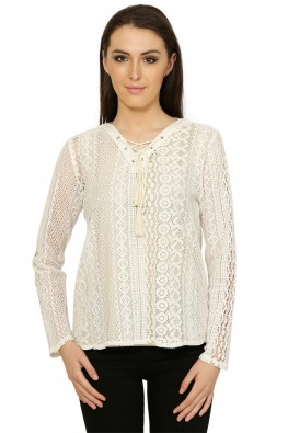 Lace blouse with rivets