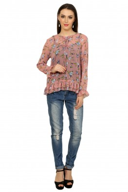 Printed blouse with tie-up & frill