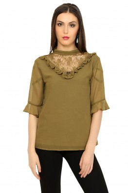 Triangular lace inset blouse