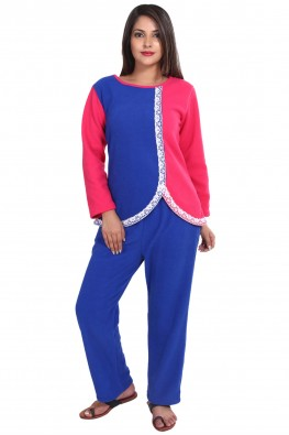 SOLID COLOR FLEECE NIGHT SUIT