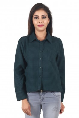 9teenAGAIN Women's Brushed Woolen Casual Gingham Shirt