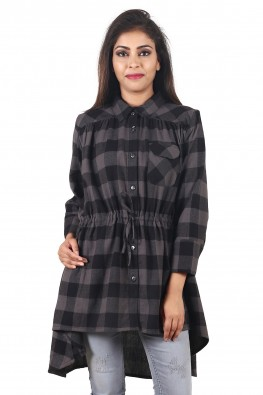 9teenAGAIN Women's Plaid Woolen Casual Shirt