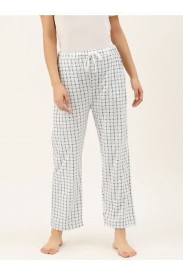 9teenAGAIN Women's Navy Checks Hosiery Pyjama (White)-1SS20-2361-SP1