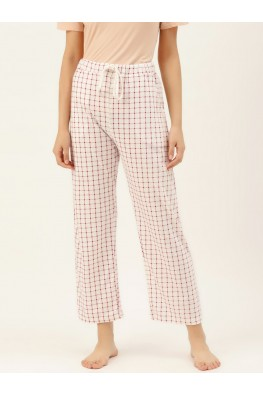 9teenAGAIN Women's Pink Checks Hosiery Pyjama (White)-1SS20-2362-SP1