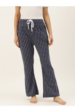9teenAGAIN Women's White Checks Hosiery Pyjama (Navy)-1SS20-2363-SP1
