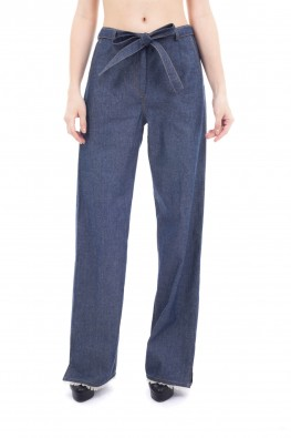 Solid Denim Straight Trouser