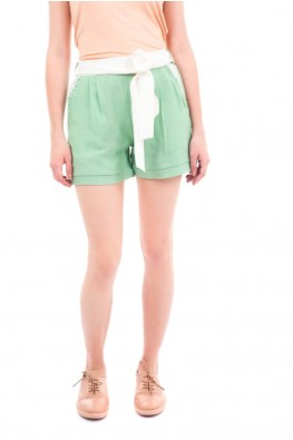Pleated Shorts with Waist Strap