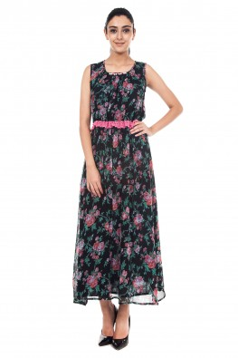 9teenAGAIN Printed georgette maxi dress