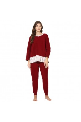 9teenAGAIN Women's Fleece Nightsuit (Maroon & White)