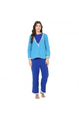 9teenAGAIN Women's Fleece Nightsuit (Blue & Light Blue)